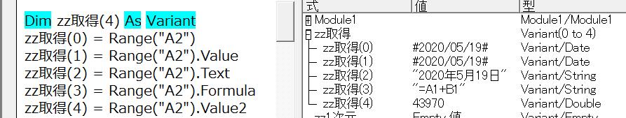 同じセルを違うプロパティで取得した状態